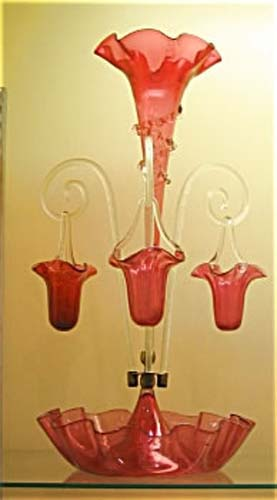 Cranberry Epergne With Hanging Baskets. SOLD