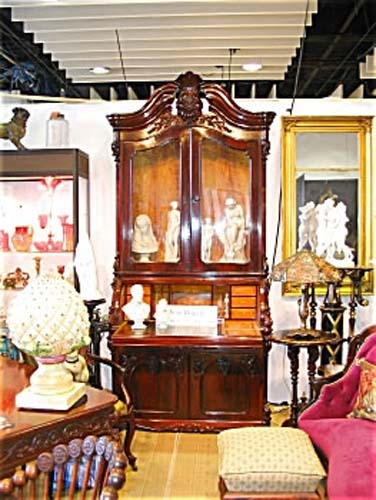 Victorian Rosewood Rococo Cylinder Secretary