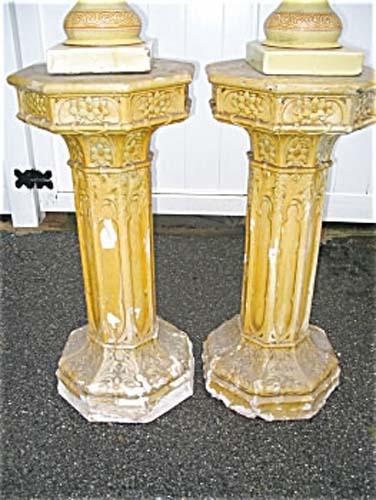 Garden: Pair of Gothic  Pedestals