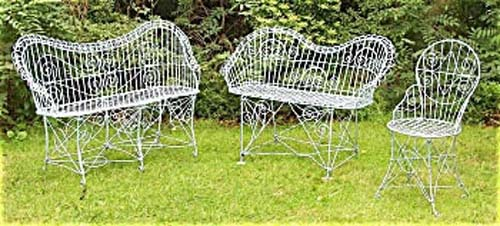 Garden:  Antique Wire Garden Benches & Chair