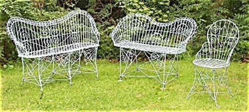 Garden: Antique Wire Garden Benches U0026 Chair