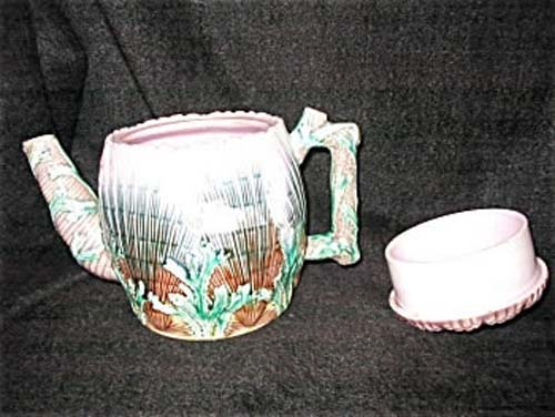 American Majolica Shell & Seaweed Coffee Pot
