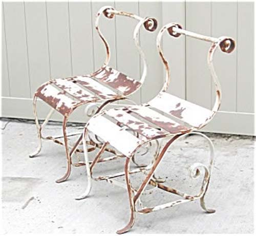 Garden: Pair of Wrought Iron Chairs