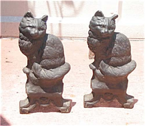Pair of Cat Andirons, Cast Iron