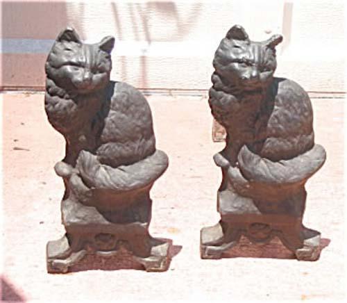 Pair of Cat Andirons, Cast Iron