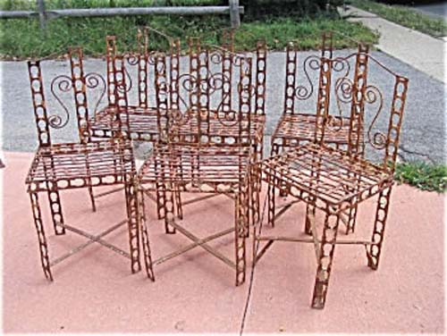Garden: Set Of 6 Wrought Iron Chairs