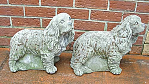 Garden: Pr Cast Stone King Charles Spaniels