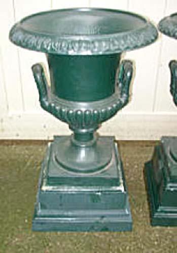 Urns, signed Mott pr cast iron