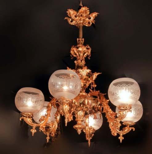 Rococo gas chandelier