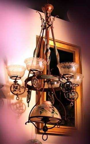 Gas/ Kerosene chandelier SOLD
