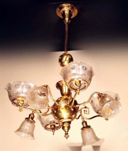 Gas/Electric Brass Chandelier