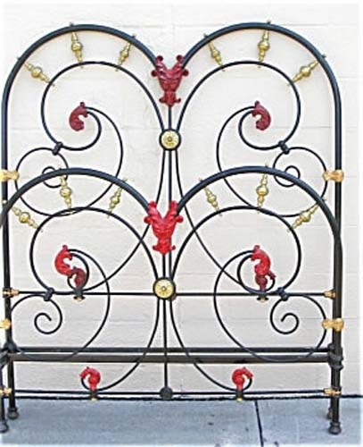 Ornate Victorian Cast Iron Bed