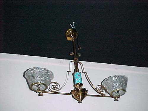 Victorian Longwy 2 Arm Gas Chandelier SOLD