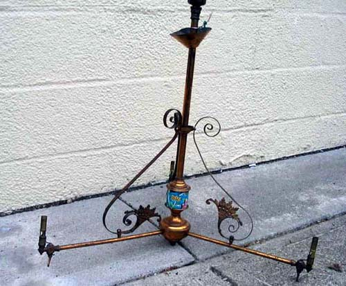 Victorian 3 Arm Longwy Gas Chandelier SOLD