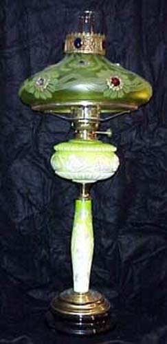 Victorian Vaseline Kerosene Lamp with Jewels - SOL