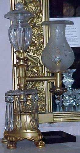 Lamps:Pr of Gilt Bronze & Crystal Argands - 275