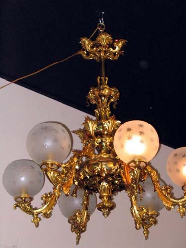Victorian Rococco 6 Arm Gas Chandelier