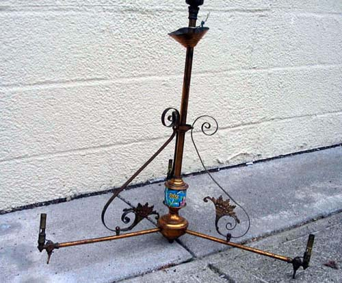 Victorian 3 Arm Longwy Gas Chandelier