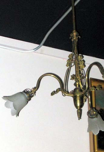 Chandelier, Brass Art Nouveau