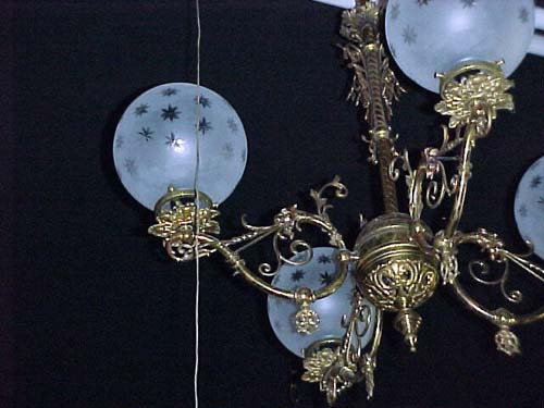 Victorian Brass Gas Chandelier - 114