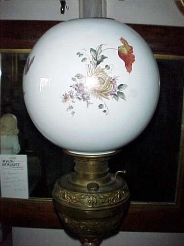 Kerosene Lamp with Kate Greenaway- figure on base-