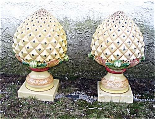 Garden Antiques Pr of Pineapple Finials: