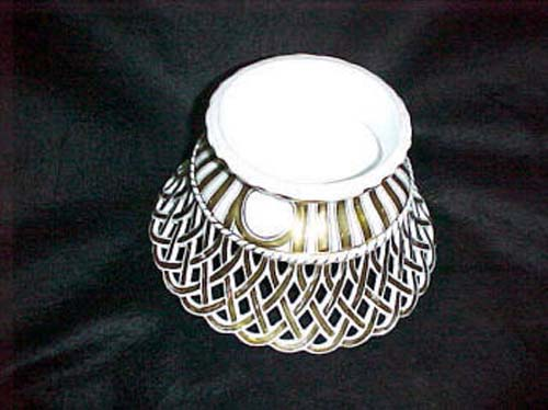 Old Paris Gold and White Pierced Basket:- Sold