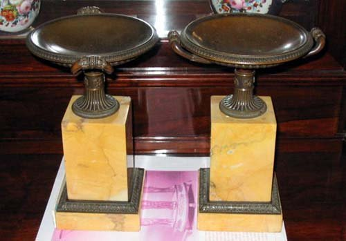 Bronze and  Marble Tazza s Pair