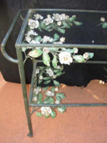 Tea Cart w Tole Flowers  SOLD