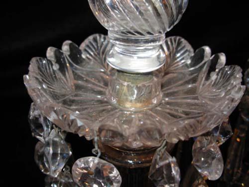 19thC  Crystal Candlesticks: Pair