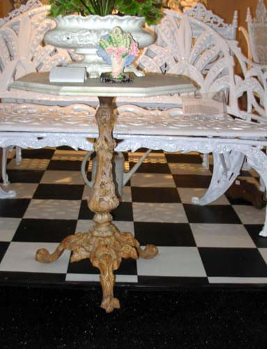 Table, Cast Iron Marble top. SOLD