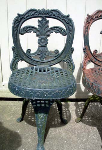 Chairs, Mott signed Cast Iron pair SOLD