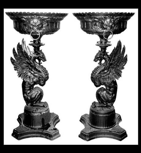 Urns,  Antique Figural Cast Iron Signed. SOLD