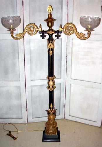 Gas Antique Pillar lamp in the Gothic Taste