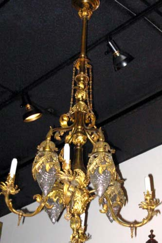 Gas/Elec Pr of Brass Chandeliers