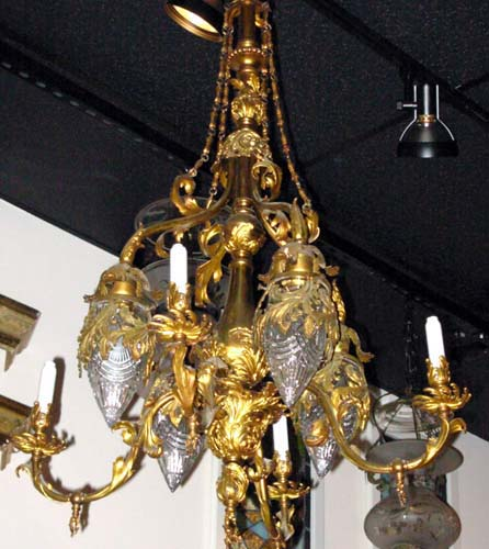 Chandelier:Gas/Elec Pr of Brass Chandeliers