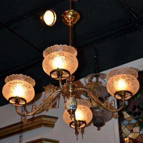 Chandelier, Gas Aesthetic ,w Satsuma.  SOLD