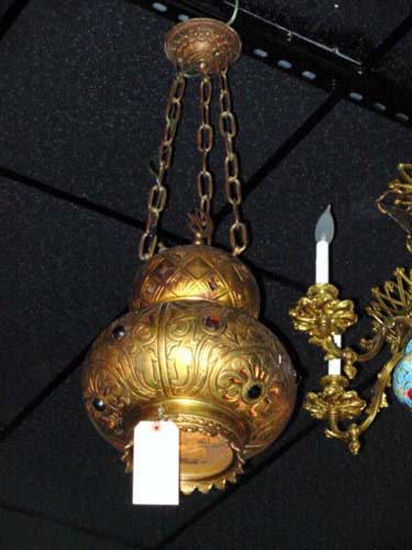 Brass Hall Light  Moorish Style with Colored Jewel