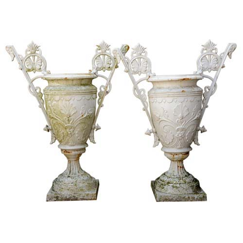 Urns by Mott, Antique Cast Iron Pr Victorian