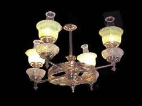Victorian Rococo Revival Rod Hung Gas Chandelier w