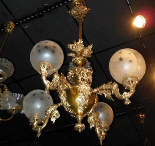 Brass Rococo Gas Chandelier w cherubs  SOLD