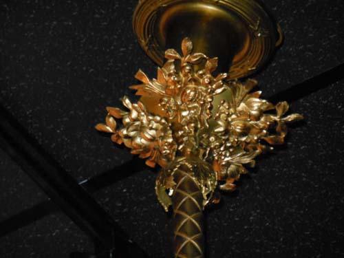 Brass Rococo Gas Chandelier w cherubs