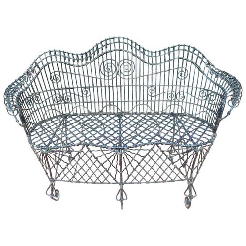 Garden Wire work antique bench    SOLD