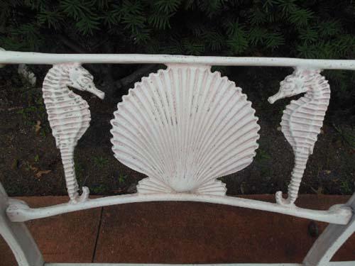 Bench Sea Horse & Shell by Molla.       SOLD