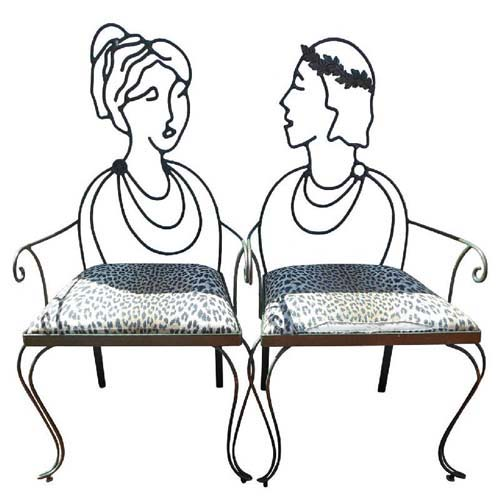 Chairs, Pr Wrought Iron Portrait Chairs SOLD