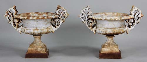 Urns Cast Iron Pair Sold