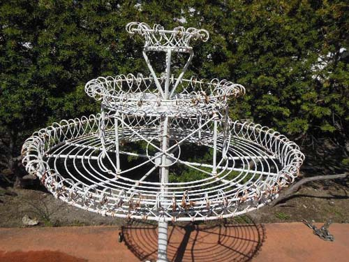 Garden Revolving Plant Stand, Cast Iron and Wire