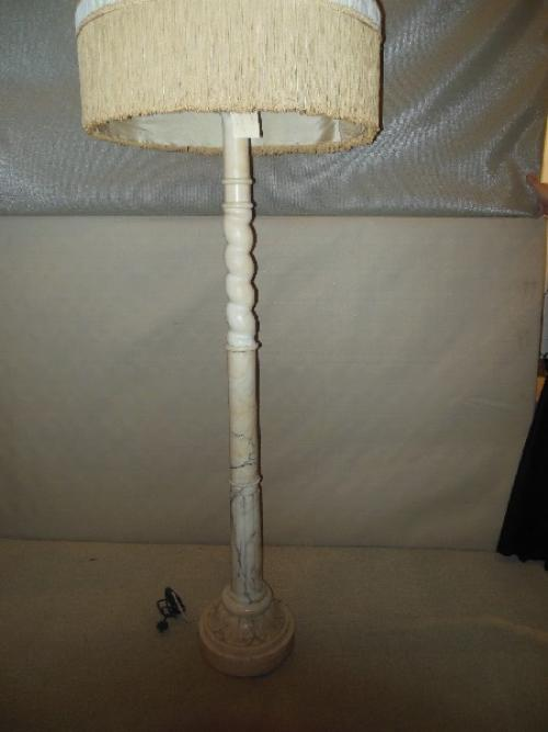 Floor Lamp, Alabaster with original silk shade