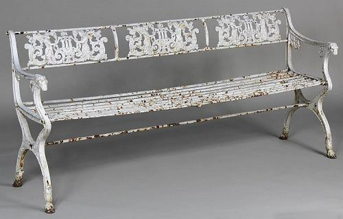 "Schinkel Garden Cast Iron Angel Bench 70"" long"