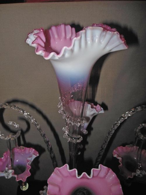 Pink Glass English Epergne